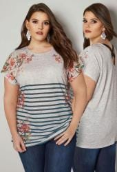 Grey Floral & Stripe Print Top With Cross Over Back