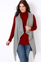 Grey Knitted Sleeveless Waterfall Waistcoat Wrap
