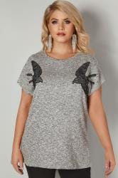 Grey Knitted Swallow Embroidered Top With Studded Details