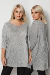 Grey Lattice Front Knitted Top