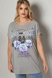 Grey 'Love And Roses' Slogan Print Top With Cut Out Beaded Shoulders