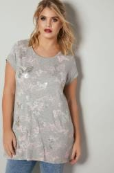 Grey Marl Butterfly Print T-Shirt With Foil Detail