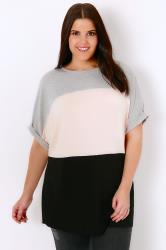 Grey Marl, Pink & Black Colour Block Stripe Jersey Top