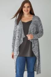 Grey Marl Space Dye Longline Waterfall Cardigan