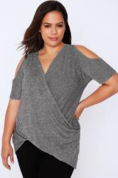 Grey Marl Wrap Front Top With Cold Shoulder