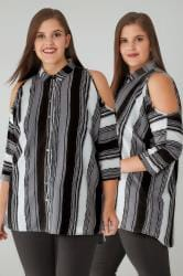 Grey Mix Stripe Cold Shoulder Shirt