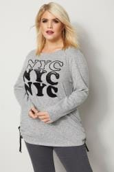 Grey 'NYC' Felt Knitted Top