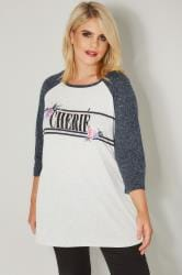 Cream & Navy 'Cherie' Slogan T-Shirt