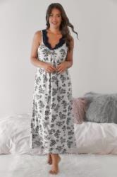 Grey & Navy Floral Print Long Nightdress With Lace Neckline