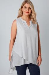 Grey Sleeveless Top With Layered Front
