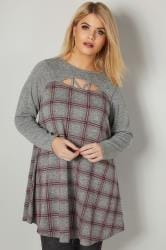 Grey & Pink Checked Longline Swing Top With Cut Out Details