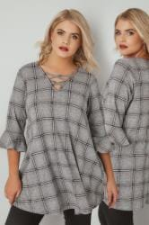 Grey & Pink Checked Longline Top With Flute Sleeves