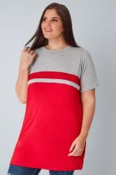 Grey & Red Colour Block Short Sleeve T-Shirt