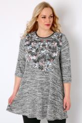 Grey Space Dye Butterfly Print Fine Knit Swing Top