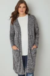 Grey Space Dye Longline Cardigan With Pockets