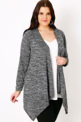 Grey Sparkle Cardigan With Waterfall Front