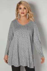 Grey Star Studded Swing Top With V-Neckline