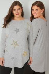 Grey Studded Star Print Fine Knit Top With Zip Back