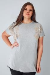 Grey T-Shirt With Gold Sequin Shoulder Detail