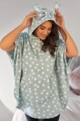 Grey & White Heart Print Fleecy Nightwear Poncho With Hood & Bunny Ears