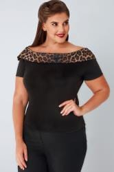 HELL BUNNY Black Bardot Top With Leopard Print Trim
