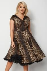 HELL BUNNY Black Leopard Print Panthera Midi Dress