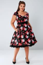 HELL BUNNY Black & Multi Bright Floral Print Liliana Dress With Tie Waist