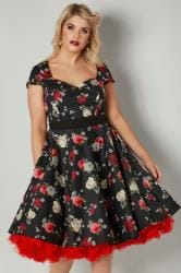 HELL BUNNY Black & Multi Floral Print Arabella Dress