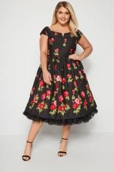 HELL BUNNY Black & Red Marlena Rose Dress