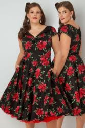 HELL BUNNY Black & Red Rose Print 50s Style Midi Dress With Collar Detail