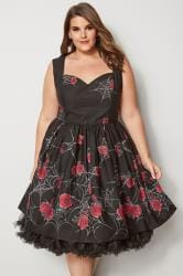 HELL BUNNY Black Rose & Cobweb Sabrina Dress