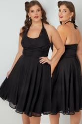 HELL BUNNY Black Ruched Chiffon 50s Style Monroe Halter Midi Dress