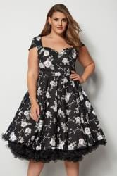 HELL BUNNY Black & White Floral Natalia Dress