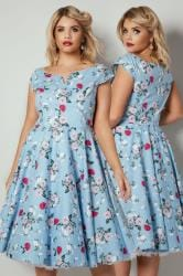 HELL BUNNY Light Blue Floral Print Belinda Midi Dress