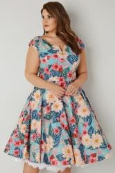HELL BUNNY Multicoloured Floral Print Lotus Dress