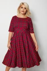 HELL BUNNY Red Tartan Irvine Dress