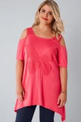 Hot Pink Bardot Jersey Top With Lace Butterfly Panel & Lace Straps