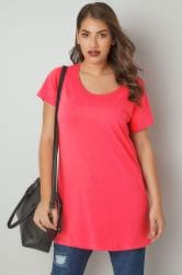 Hot Pink Scoop Neck Longline Jersey T-Shirt