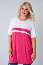 Hot Pink & White Colour Block Short Sleeve T-Shirt
