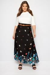 IZABEL CURVE Black Butterfly Maxi Skirt