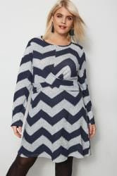 IZABEL CURVE Navy & Grey Knitted Tunic Top