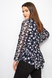 IZABEL CURVE Navy & White Floral Mesh Top