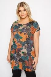 IZABEL CURVE Orange Patterned Tunic Dress