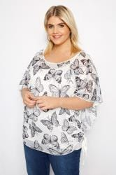 IZABEL CURVE White Butterfly Side Tie Top