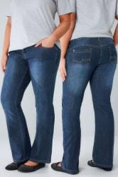 Indigo Bootcut SHAPER Jeans With Two Button Fastening