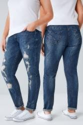 Indigo Distressed Ripped Boyfriend BROOKLYN Jeans