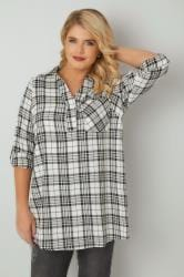 Ivory & Black Oversized Check Shirt With V-Neck