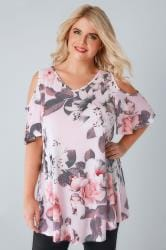 Ivory & Blush Pink Cold Shoulder Rose Print Swing Top