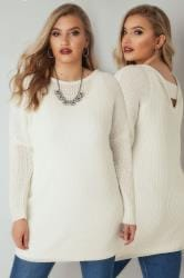 Ivory Chunky Knit Jumper With V-Back Cut Out