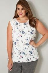 Ivory Floral Print Sleeveless Bubble Hem Top With Lace Shoulders